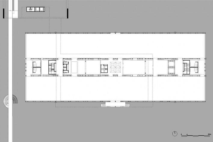 Museu Nacional dos Coches, planta do primeiro pavimento do pavilhão principal (exposição), Lisboa. Arquiteto Paulo Mendes da Rocha, MMBB arquitetos e Bak Gordon arquitetos<br />Imagem divulgação