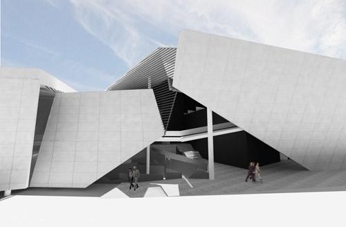 Perspectiva da entrada do foyer central<br />Imagem do autor do projeto