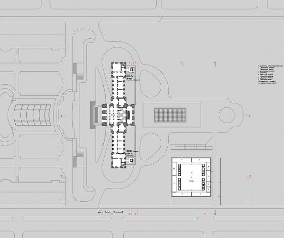 Ampliação do Museu Paulista da USP (Museu do Ipiranga), planta segundo pavimento. Arquitetos Eduardo Colonelli e Silvio Oksman, 2008<br />Imagem escritório