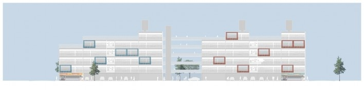 Fachada da rua. Concurso Habitação para Todos. CDHU. Edifícios de 6/7 pavimentos - 2º Lugar. <br />Autores do projeto  [equipe premiada]