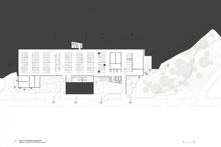Sesc Limeira, planta do embasamento, 2017. Arquitetos Alvaro Puntoni, João Sodré, José Paulo Gouvêa e Pedro Mendes da Rocha / Grupo SP + JPG.ARQ + Pedro Mendes da Rocha