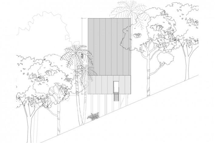 Monkey House, lateral elevation, Paraty RJ Brasil, 2020. Architect Marko Brajovic / Atelier Marko Brajovic<br />Imagem divulgação/ disclosure image  [Atelier Marko Brajovic]
