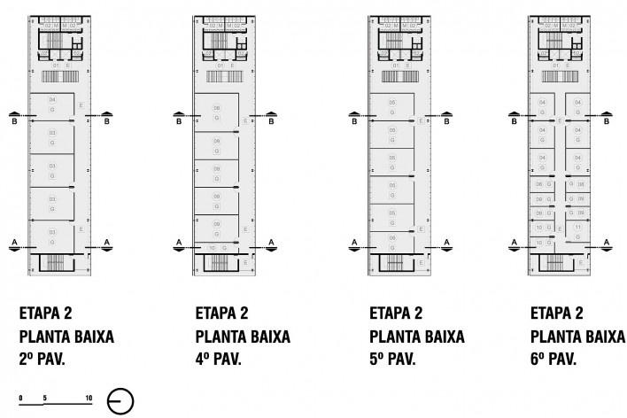 Campus Igara UFCSPA, plantas baixas 2º, 4º, 5º e 6º pavimentos da etapa 2. OSPA Arquitetura e Urbanismo<br />Imagem divulgação