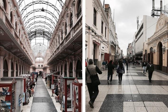À esquerda, passaje del Correo Central; à direita, Jirón de La Unión, Lima, distrito central<br />Foto José Lira