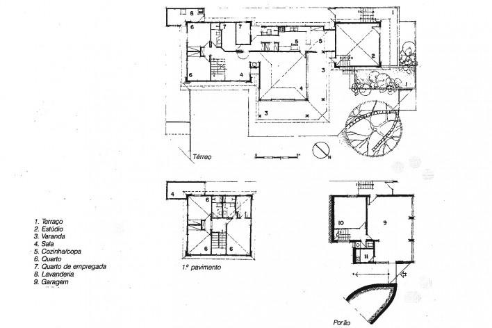 Casa do Itaigara, plantas baixas, Salvador BA, 1989<br />Fonte Arquivo Paulo Ormindo de Azevedo