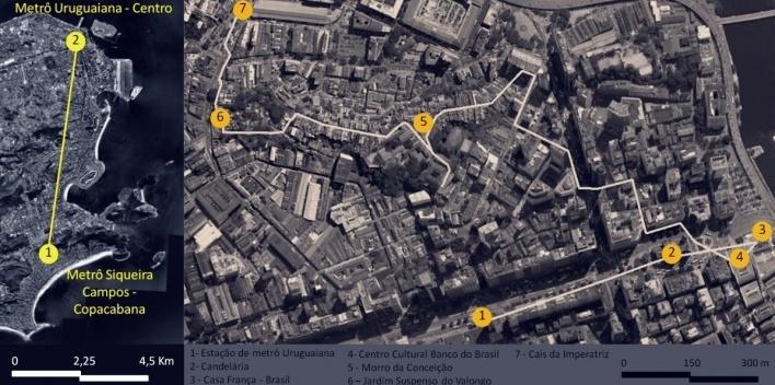 Mapa do roteiro diurno da primeira parte da viagem de estudos ao Rio de Janeiro, 2012<br />Google Earth, com trabalho gráfico de Carina Cardoso