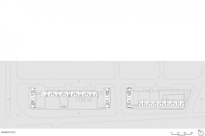 Planta pavimento tipo, conjunto habitacional do Jardim Edite<br />Desenho MMBB & H+F