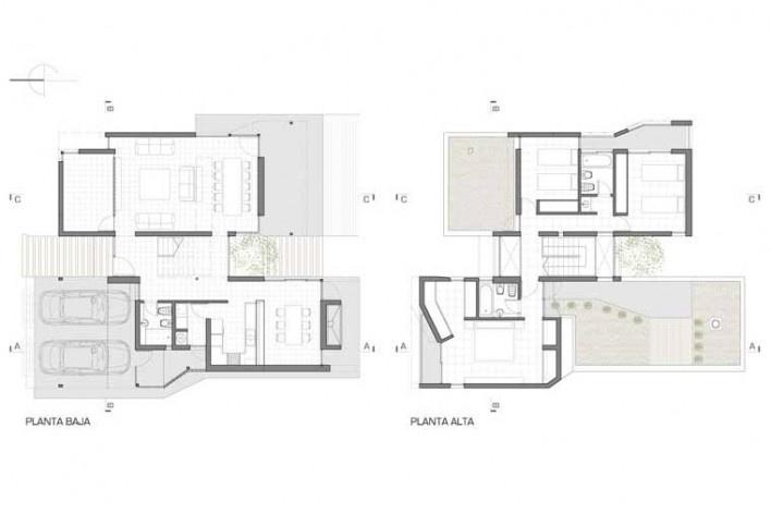 Casa H, plantas, Funes, Argentina. Arquitectos Matías Blas Imbern y Agustina González Cid<br />Desenho do escritório