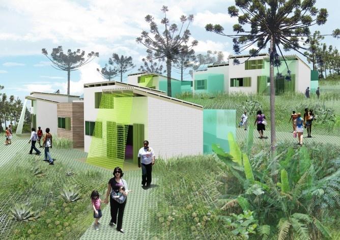 Visualização. Concurso Habitação para Todos. CDHU. Casas escalonadas - 2º Lugar.<br />Autores do projeto  [equipe premiada]