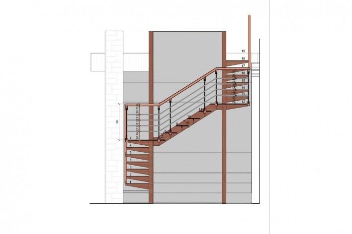 Casa Lutzenberger, escadas, elecação A. Reforma Kiefer arquitetos
