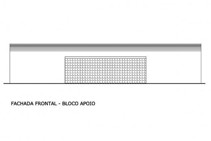 Fachada frontal bloco de apoio. Academia da Saúde. Recife, 2011<br />divulgação