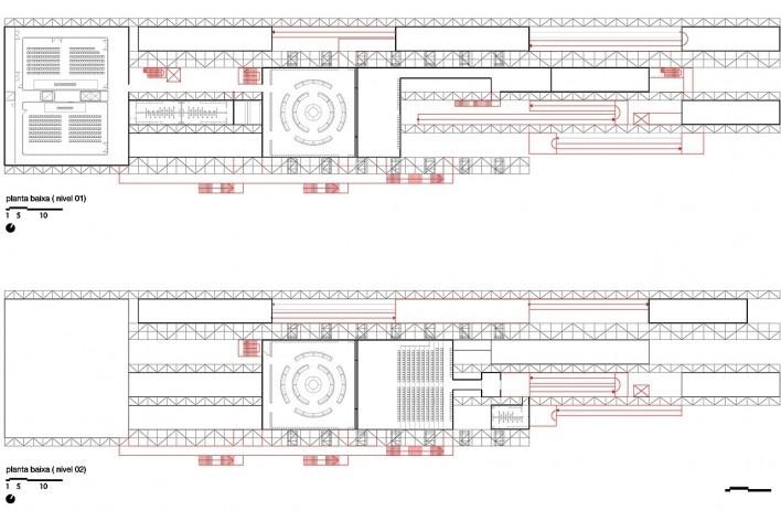 Planta baixa nível 01 e 02- Pavilhão Humanidade 2012, Rio+ 20<br />divulgação