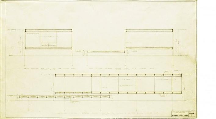 Casa Edith Farnsworth, planta, Plano, Illinois, Estados Unidos. Arquiteto Ludwig Mies van der Rohe, 1951 [National Trust for Historic Preservation]