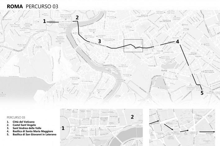 Roma, percurso 3<br />Mapa de viagem