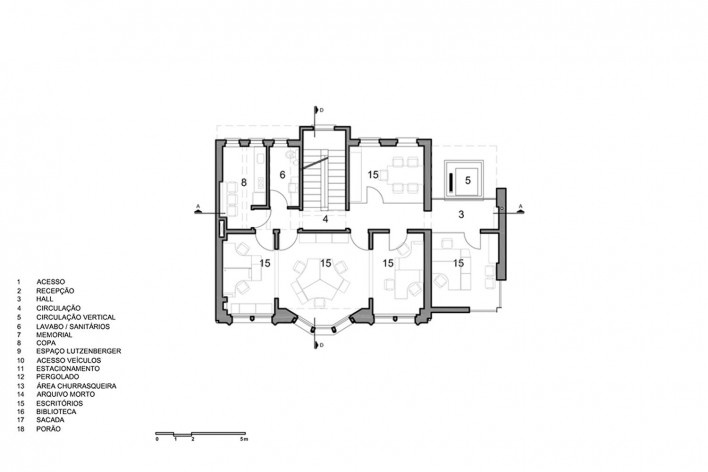 Casa Lutzenberger, planta do segundo pavimento. Reforma Kiefer arquitetos