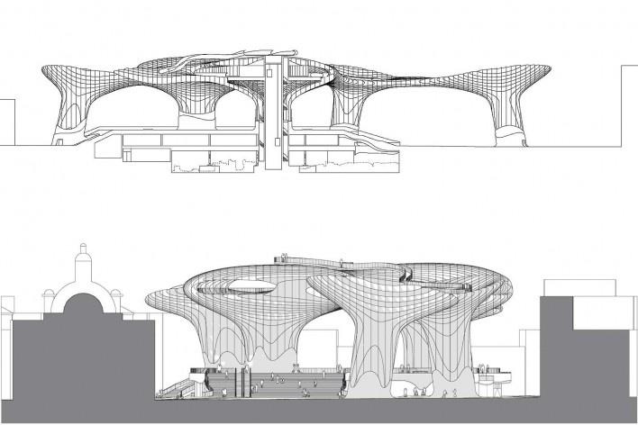 Metropol Parasol, corte e elevação, Sevilha. J. Mayer H. Architects, 2004<br />Desenho J. Mayer H. Architects