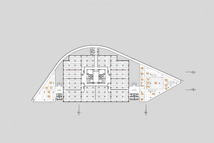 Concurso Anexo da Biblioteca Nacional, planta pavimento 1, Rio de Janeiro, 2º lugar, arquitetos Eduardo de Almeida, Helena Ayoub, Cesar Shundi Iwamizu<br />Imagem divulgação