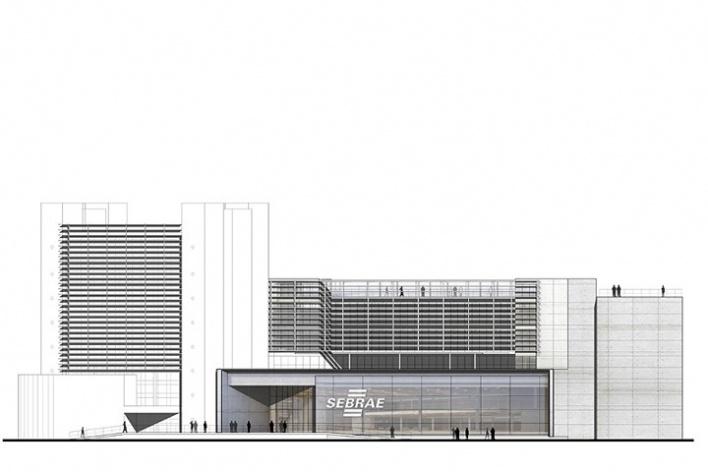 Centro de Referência em Empreendedorismo do Sebrae-MG, fachada Avenida Barão Homem de Melo, 2º lugar. Arquiteto Francisco Spadoni, 2008<br />Desenho escritório