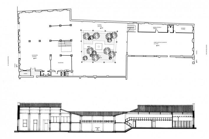 Centro Cultural Dannemann, planta do pavimento térreo e corte transversal, São Félix BA, 1986/89<br />Imagem divulgação  [Arquivo Paulo Ormindo de Azevedo]