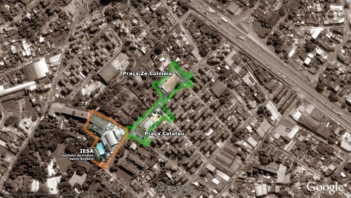 Vista aérea - Praça Zé Colméia, Praça Catatau e Instituto de Ensino Santo Antônio<br />Imagem dos autores do projeto