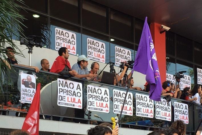 Sindicato de Metalúrgicos do ABC, balcão reservado para a imprensa<br />Foto Abilio Guerra