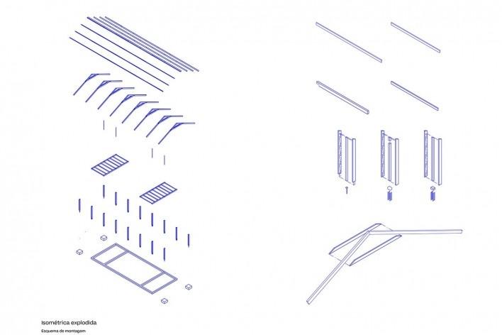 Coberturas no Xingu, perspectiva isométrica do sistema de montagem, Parque Indígena do Xingu, São Félix do Araguaia MT Brasil, 2017. Arquiteto Gustavo Utrabo (autor) / Estúdio Gustavo Utrabo<br />Imagem divulgação / disclosure image  [Estúdio Gustavo Utrabo]