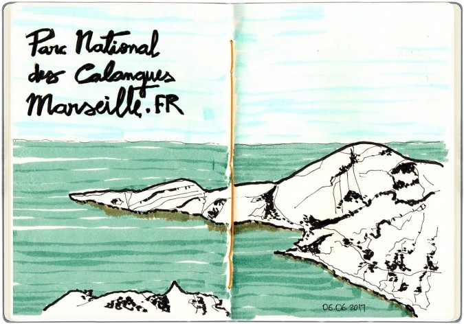 Parc National des Calanques, Marseille, França<br />Desenho de Petterson Dantas