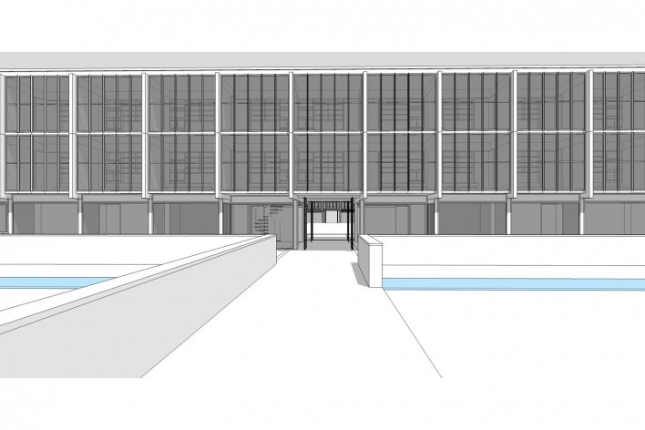 Saint Catherine's College, portal de acesso ao college, Oxford, Inglaterra, 1959-1964, arquiteto Arne Jacobsen<br />Modelo tridimensional de Edson Mahfuz e Ana Karina Christ