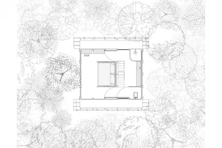 Monkey House, second floor plan, Paraty RJ Brasil, 2020. Architect Marko Brajovic / Atelier Marko Brajovic<br />Imagem divulgação/ disclosure image  [Atelier Marko Brajovic]