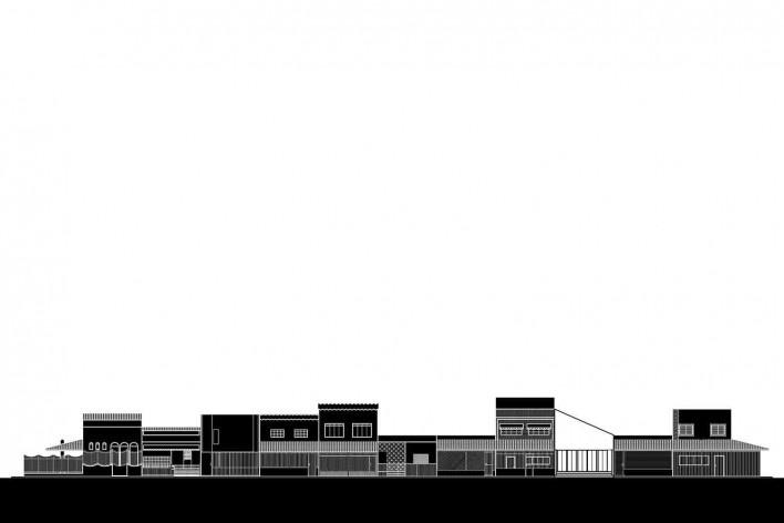 Casa 711H, elevação do casario, Brasília, 2017. Arquitetos Daniel Mangabeira, Henrique Coutinho e Matheus Seco<br />Desenho divulgação
