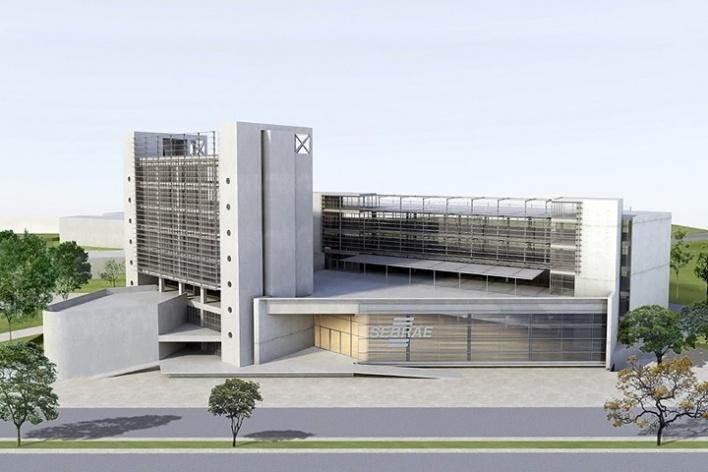 Centro de Referência em Empreendedorismo do Sebrae-MG, vista do conjunto, 2º lugar. Arquiteto Francisco Spadoni, 2008<br />Desenho escritório
