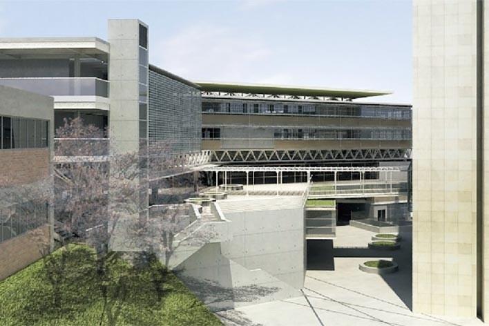 Centro de Referência em Empreendedorismo do Sebrae-MG, praça de integração dos volumes, 3º lugar. Arquiteto Enrique Hugo Brena, 2008<br />Desenho escritório