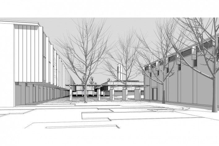 Saint Catherine's College, vista geral em direção ao quad, sem cerca viva, Oxford, Inglaterra, 1959-1964, arquiteto Arne Jacobsen<br />Modelo tridimensional de Edson Mahfuz e Ana Karina Christ