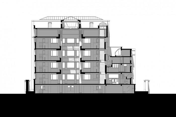 Edifício Larkin, corte, Buffalo, Nova York, EUA, 1905. Arquiteto Frank Lloyd Wright<br />Modelo tridimensional Ana Clara Pereira dos Anjos / Imagem Edson da Cunha Mahfuz