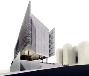 Vista geral da entrada do edifício<br />Imagem dos autores do projeto