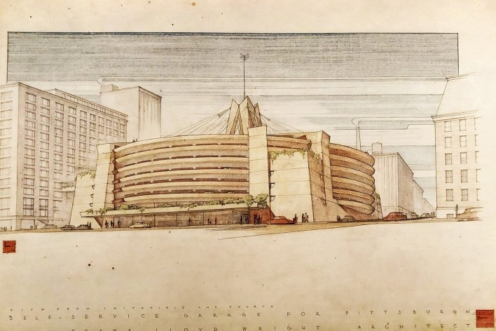 """Self-service Garage for Pittsburgh, Frank Lloyd Wright, mostra """"The Human Insect: Antenna Architectures 1887-2017""""<br />Foto Ana Tagliari / Wilson Florio, 2018"""