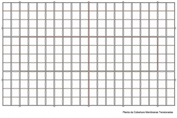 Proposta para Sobre-Cobertura do Edifício Vilanova Artigas, sede da FAU-USP, planta cobertura – membranas tensionadas. Arquiteto Pedro Paulo de Melo Saraiva, 2009<br />Imagem escritório