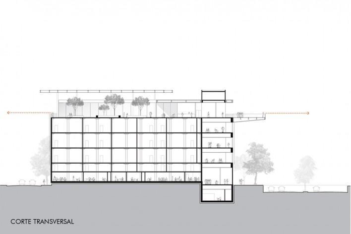 Concurso Anexo da Biblioteca Nacional, corte transversal, Rio de Janeiro, 3º lugar, arquiteto Renato Dal Pian<br />Imagem divulgação
