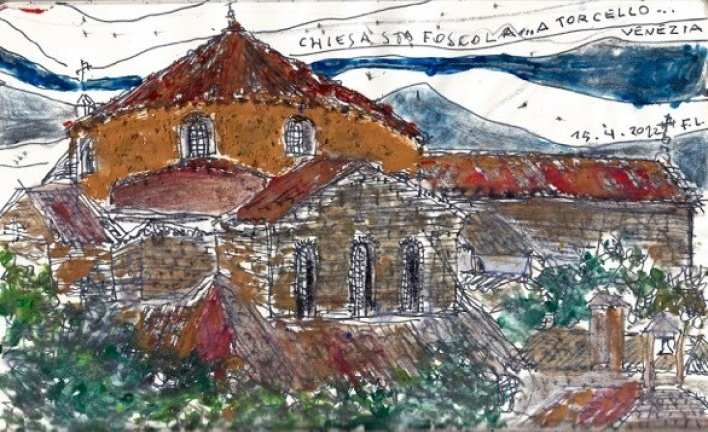 Sketch of the Basilica from the Locanda Cipriani, during the visit<br />Desenho Fabio Lima