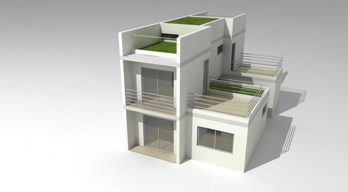Maquete eletrônica da tipologia de 3 dormitórios com acréscimo de quarto e banheiro acessíveis. Concurso Habitação para Todos.CDHU.Sobrados - 2º Lugar<br />Autores do projeto  [equipe premiada]
