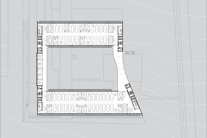 Sede do Sebrae Nacional, planta pavimento 1 – nível 1070,05, Brasília DF, 2010. Arquitetos Alvaro Puntoni, Luciano Margotto, João Sodré e Jonathan Davies