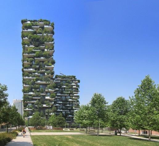 Edifício Bosco Verticale, Milão, arquiteto Stefano Boeri<br />Foto Victor Hugo Mori