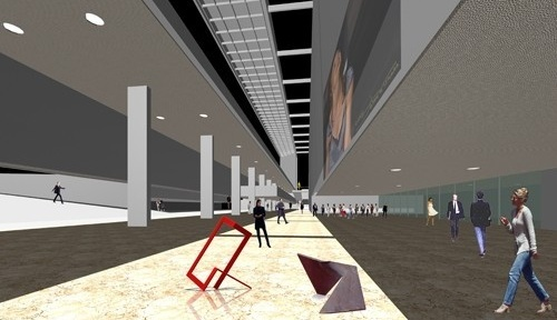 Perspectiva saguão - interligação entre as salas de espetáculo<br />Imagem do autor do projeto