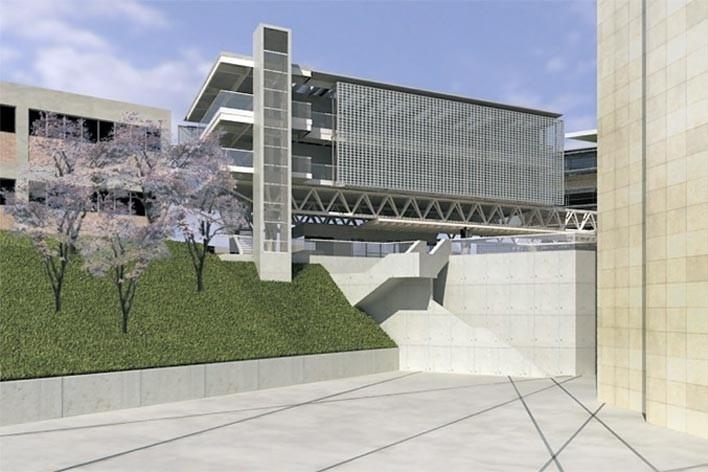 Centro de Referência em Empreendedorismo do Sebrae-MG, valorização e integração com a ETFG e a sede do Sebrae, 3º lugar. Arquiteto Enrique Hugo Brena, 2008<br />Desenho escritório