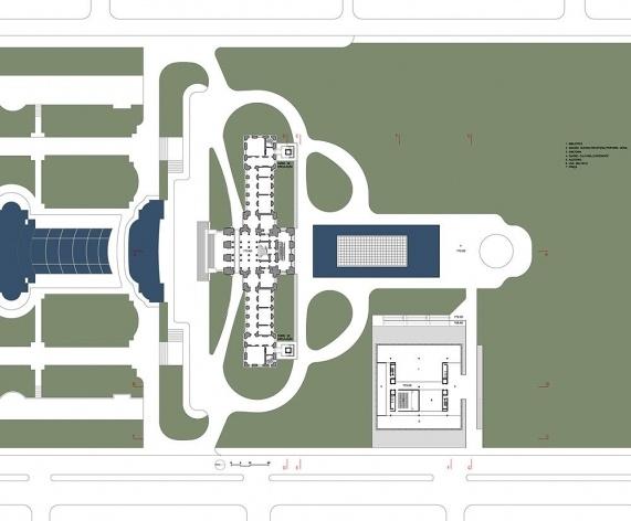 Ampliação do Museu Paulista da USP (Museu do Ipiranga), planta pavimento térreo. Arquitetos Eduardo Colonelli e Silvio Oksman, 2008<br />Imagem escritório