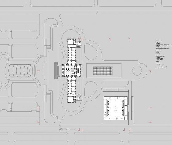 Ampliação do Museu Paulista da USP (Museu do Ipiranga), planta primeiro pavimento. Arquitetos Eduardo Colonelli e Silvio Oksman, 2008<br />Imagem escritório