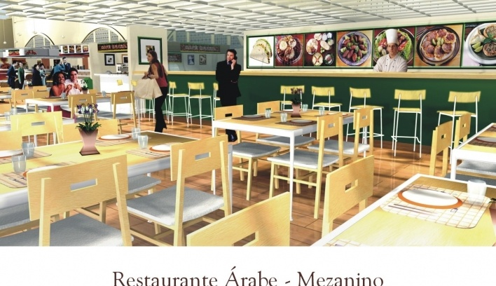 Restaurante Árabe no Mezanino<br />Imagem do autor do projeto