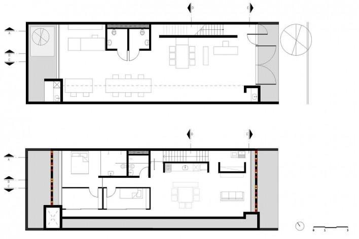 Casa-ateliê da Vila Charlote, plantas pavimento térreo e superior, Presidente Prudente SP, arquiteta Cristiana Pasquini<br />Imagem divulgação