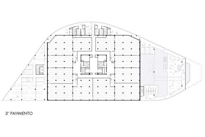 Concurso Anexo da Biblioteca Nacional, planta pavimento 3, Rio de Janeiro, 3º lugar, arquiteto Renato Dal Pian<br />Imagem divulgação