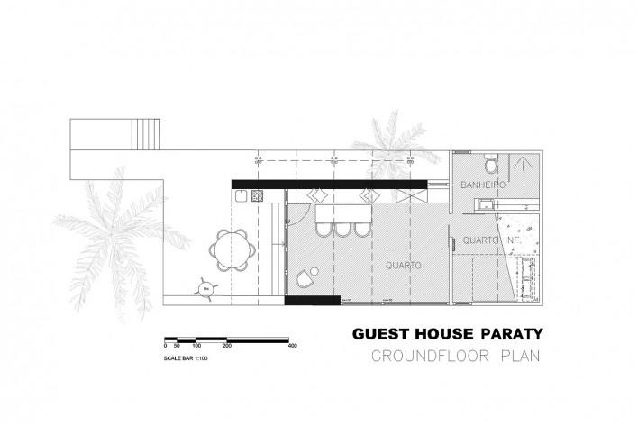 Guest House Paraty, planta, São Luiz do Paraitinga SP Brasil. CRU! Architects e Sven Mouton<br />Imagem divulgação  [Acervo CRU! Architects e Sven Mouton]